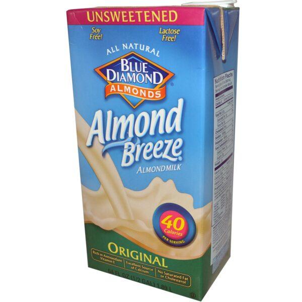 Blue Diamond Unsweetened Almond Breeze Milk Original 1QT/32 oz 05413/19001