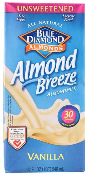 Blue Diamond Unsweetened Almond Breeze Milk Vanilla 1QT/32 oz 05416/19002