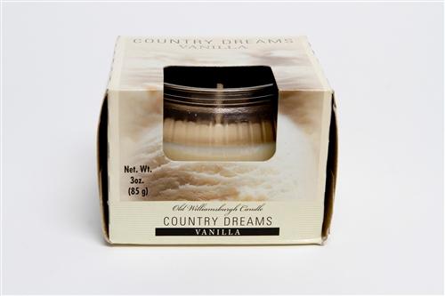 Country Dreams Vanilla 3 oz candle jar